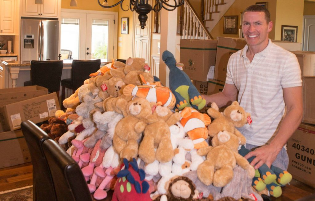 Beau With Donated Bears